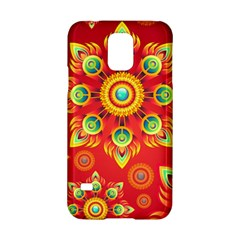 Red and Orange Floral Geometric Pattern Samsung Galaxy S5 Hardshell Case