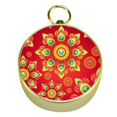 Red and Orange Floral Geometric Pattern Gold Compasses