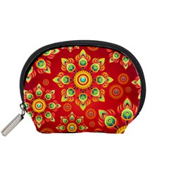 Red and Orange Floral Geometric Pattern Accessory Pouches (Small)