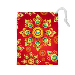 Red and Orange Floral Geometric Pattern Drawstring Pouches (Large)