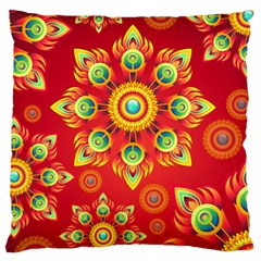 Red and Orange Floral Geometric Pattern Standard Flano Cushion Case (Two Sides)
