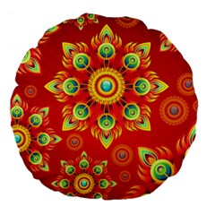 Red and Orange Floral Geometric Pattern Large 18  Premium Flano Round Cushions