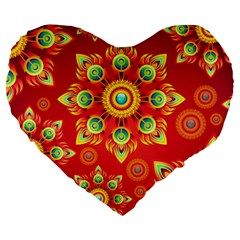 Red and Orange Floral Geometric Pattern Large 19  Premium Flano Heart Shape Cushions