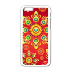 Red and Orange Floral Geometric Pattern Apple iPhone 6/6S White Enamel Case