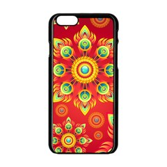 Red and Orange Floral Geometric Pattern Apple iPhone 6/6S Black Enamel Case
