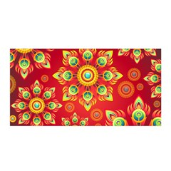 Red and Orange Floral Geometric Pattern Satin Wrap