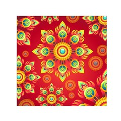 Red and Orange Floral Geometric Pattern Small Satin Scarf (Square)