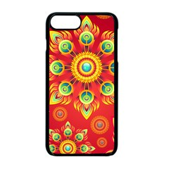 Red And Orange Floral Geometric Pattern Apple Iphone 7 Plus Seamless Case (black)