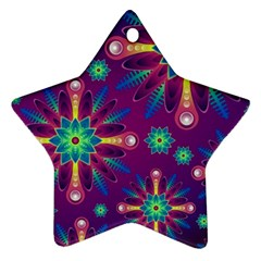 Purple and Green Floral Geometric Pattern Ornament (Star)