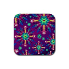 Purple and Green Floral Geometric Pattern Rubber Coaster (Square)