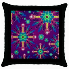 Purple and Green Floral Geometric Pattern Throw Pillow Case (Black)