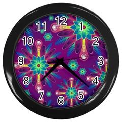 Purple and Green Floral Geometric Pattern Wall Clocks (Black)