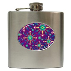 Purple and Green Floral Geometric Pattern Hip Flask (6 oz)