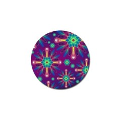 Purple and Green Floral Geometric Pattern Golf Ball Marker (10 pack)