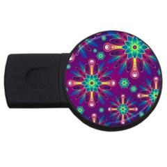 Purple and Green Floral Geometric Pattern USB Flash Drive Round (2 GB)