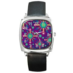 Purple And Green Floral Geometric Pattern Square Metal Watch