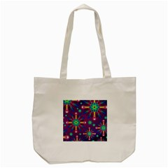 Purple and Green Floral Geometric Pattern Tote Bag (Cream)