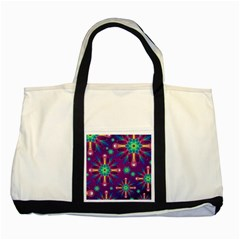 Purple and Green Floral Geometric Pattern Two Tone Tote Bag