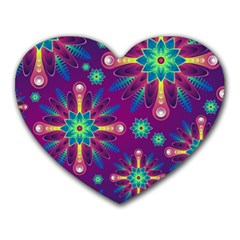 Purple and Green Floral Geometric Pattern Heart Mousepads