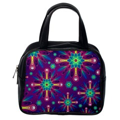 Purple and Green Floral Geometric Pattern Classic Handbags (One Side)