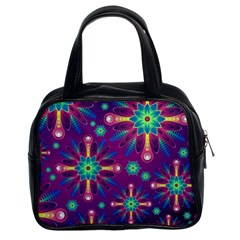 Purple and Green Floral Geometric Pattern Classic Handbags (2 Sides)
