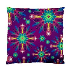 Purple and Green Floral Geometric Pattern Standard Cushion Case (Two Sides)