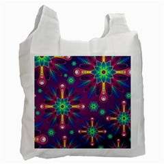 Purple and Green Floral Geometric Pattern Recycle Bag (Two Side)
