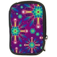 Purple and Green Floral Geometric Pattern Compact Camera Cases