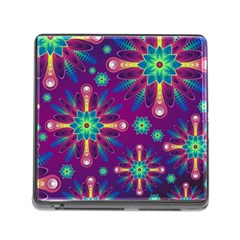 Purple and Green Floral Geometric Pattern Memory Card Reader (Square)