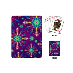 Purple and Green Floral Geometric Pattern Playing Cards (Mini)