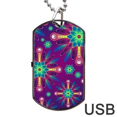 Purple and Green Floral Geometric Pattern Dog Tag USB Flash (One Side)