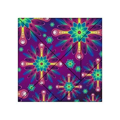 Purple and Green Floral Geometric Pattern Acrylic Tangram Puzzle (4  x 4 )