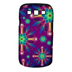 Purple and Green Floral Geometric Pattern Samsung Galaxy S III Classic Hardshell Case (PC+Silicone)