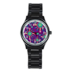 Purple and Green Floral Geometric Pattern Stainless Steel Round Watch