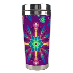 Purple and Green Floral Geometric Pattern Stainless Steel Travel Tumblers