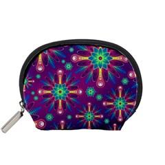 Purple and Green Floral Geometric Pattern Accessory Pouches (Small)