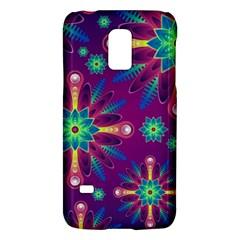 Purple and Green Floral Geometric Pattern Galaxy S5 Mini