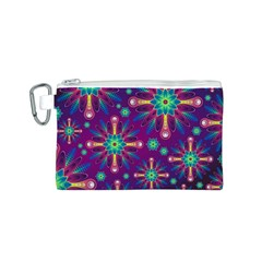 Purple and Green Floral Geometric Pattern Canvas Cosmetic Bag (S)