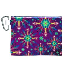 Purple and Green Floral Geometric Pattern Canvas Cosmetic Bag (XL)