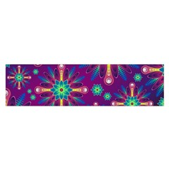 Purple and Green Floral Geometric Pattern Satin Scarf (Oblong)