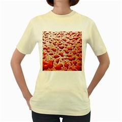 Water Drops Background Women s Yellow T-Shirt