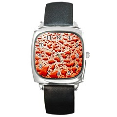Water Drops Background Square Metal Watch
