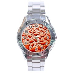 Water Drops Background Stainless Steel Analogue Watch