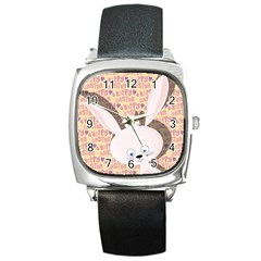Easter bunny  Square Metal Watch