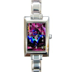 Abstract Artwork Of A Old Truck Rectangle Italian Charm Watch