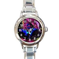 Abstract Artwork Of A Old Truck Round Italian Charm Watch