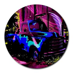 Abstract Artwork Of A Old Truck Round Mousepads