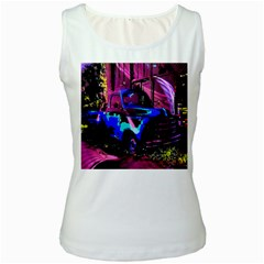 Abstract Artwork Of A Old Truck Women s White Tank Top