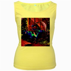 Abstract Artwork Of A Old Truck Women s Yellow Tank Top