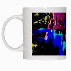Abstract Artwork Of A Old Truck White Mugs